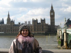Miss Vera in front of Big Ben